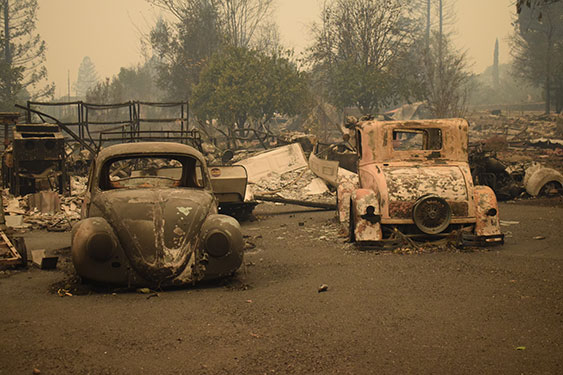 vehicles destroyed in the camp fire