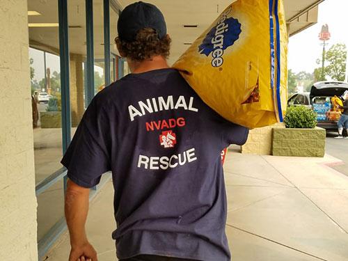 volunteer carrying dog food