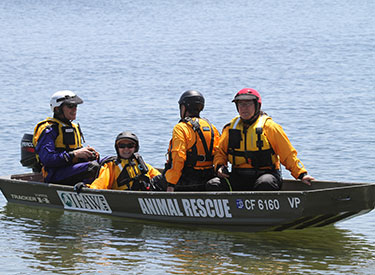 Volunteers practicing boat rescues